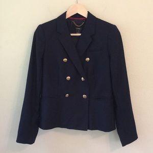 J. Crew 100% Wool Navy Button Front Blazer